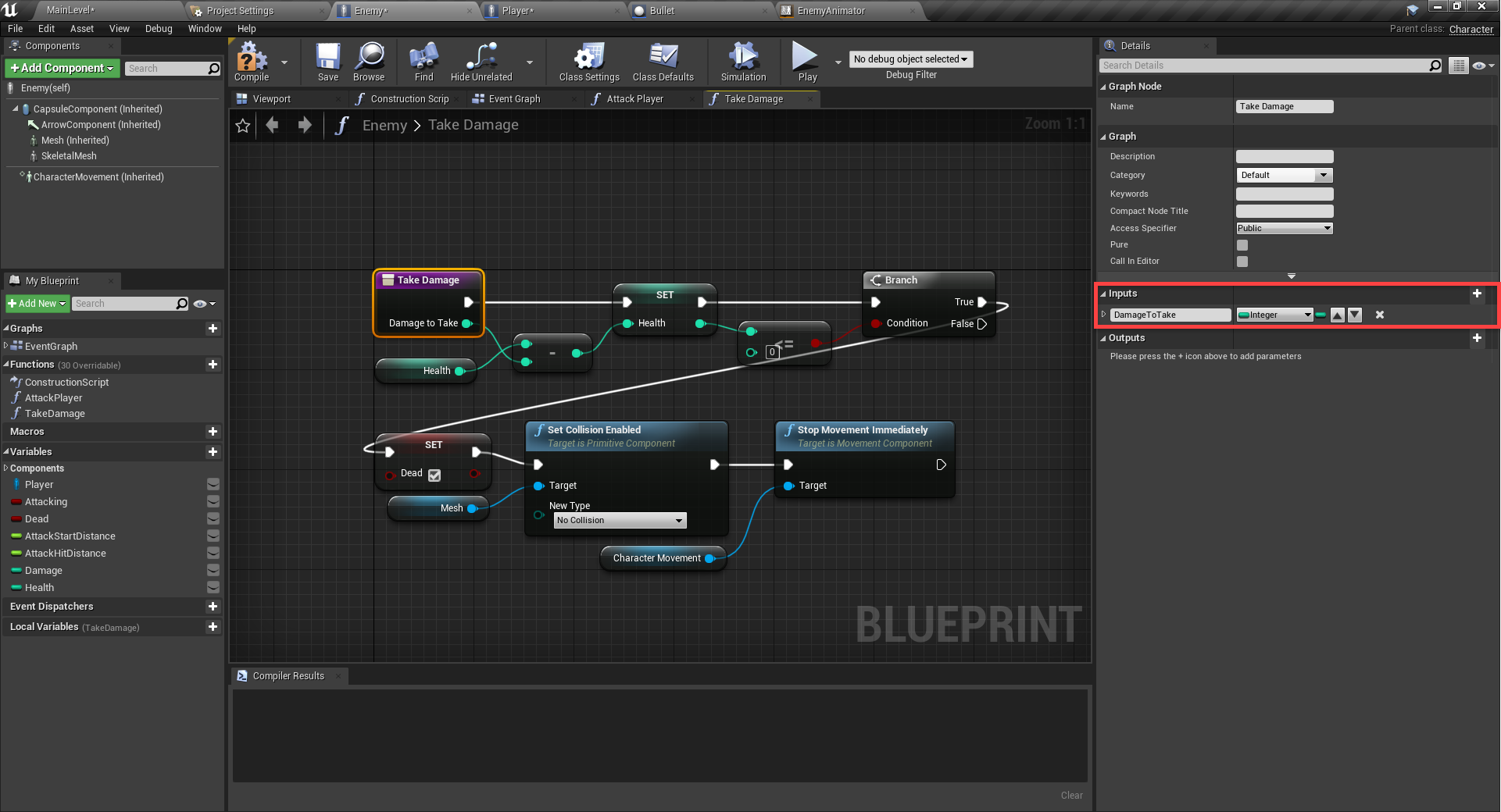 Inputs Details circled in Unreal Engine Event Graph