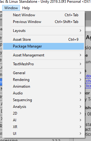 Opening the package manager