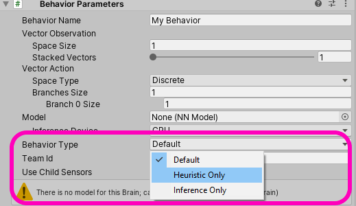 Different modes on the Behavior Parameter component in Unity ML Agents