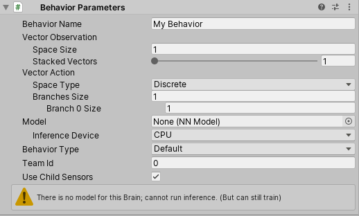 Observation size on the Behavior Parameter component Unity ML Agents