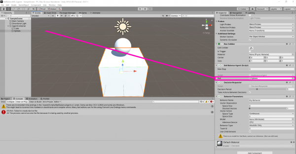Assigning the ball object to the agent in Unity ML Agents