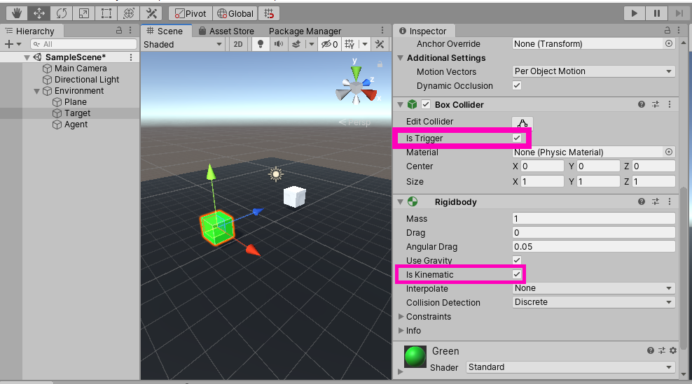 Adding a rigidbody and a collider that is trigger to the target