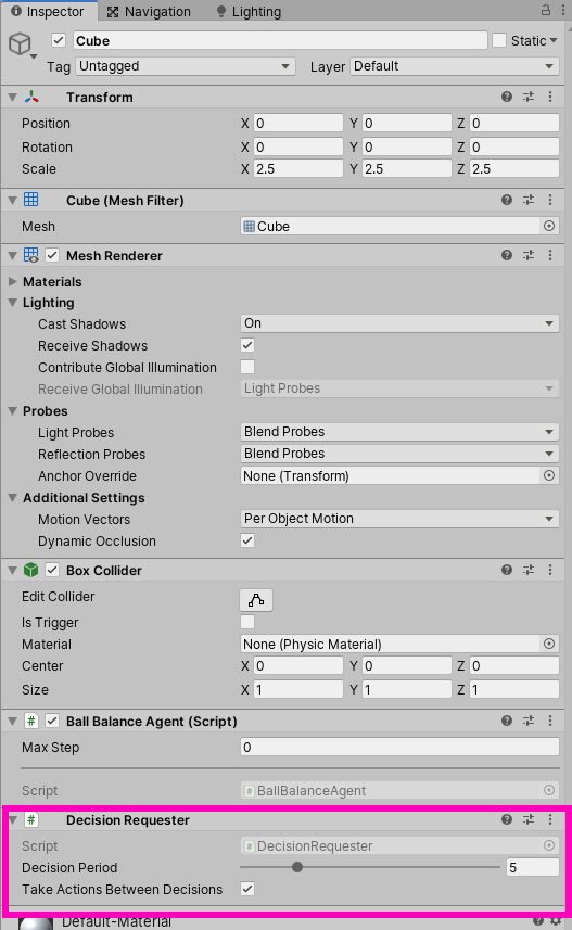 Decision requester component in Unity ML Agents