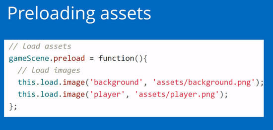 Preloading assets coding example