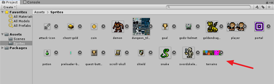 Sprite Assets folder in Unity