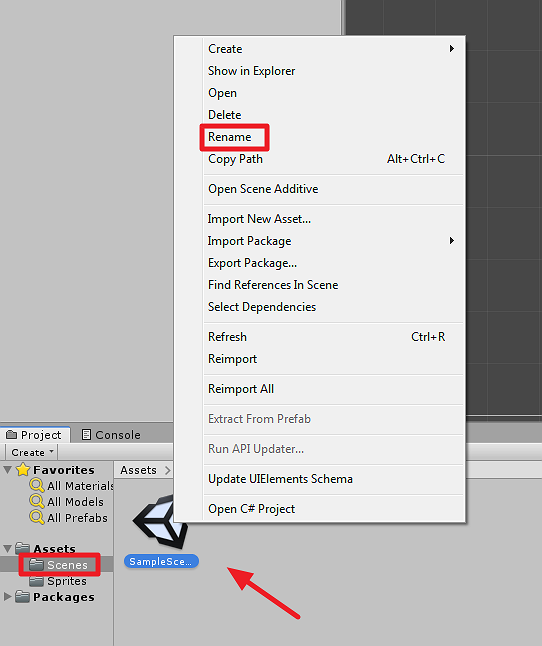 Rename option from right-clicking Unity scene