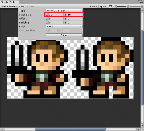 Unity Sprite Editor with Player sprite slicing