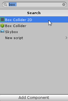 Unity Search with Box Collider 2D selected