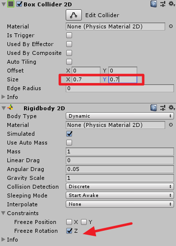 Box Collider 2D settings in Unity