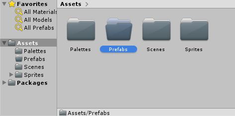 Unity Prefabs folder selected