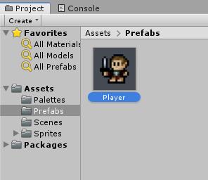 New Player prefab in Unity Prefabs folder