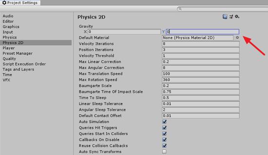 Unity Project Settings Physics 2D options