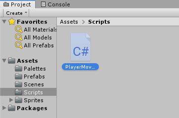 PlayerMovement script in Unity Project window