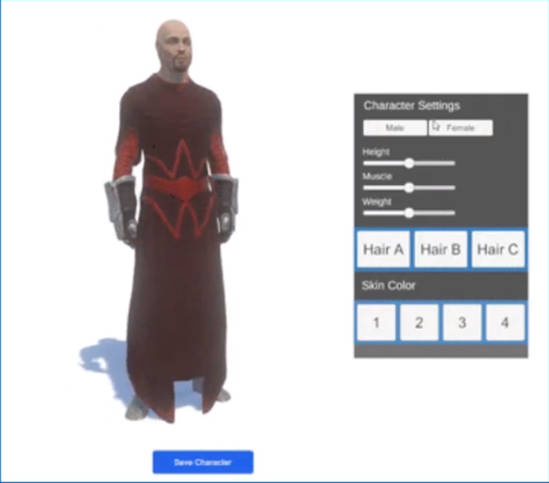 Male character example of the UMA tool