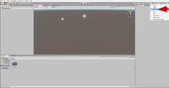 Unity editor with Default layout selected