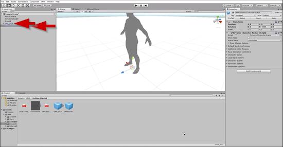 UMA character dragged onto Unity Scene window