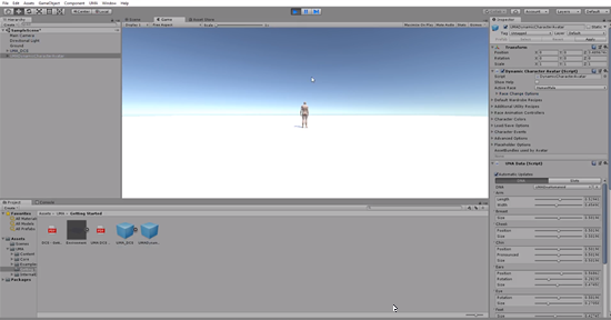 Unity scene with male character visible and rendered with textures