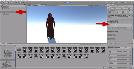 Unity Inspector showing where to drag and drop wardrobe pieces