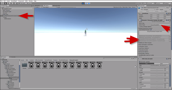 Female character setup in Unity Inspector