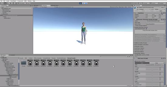 UMA female character in Unity Game scene