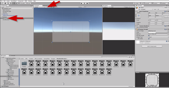 UI Panel set up in Unity Hierarchy