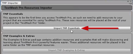 TMP Importer window in Unity