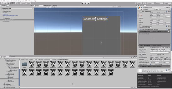 Character Settings text added to UI Panel in Unity