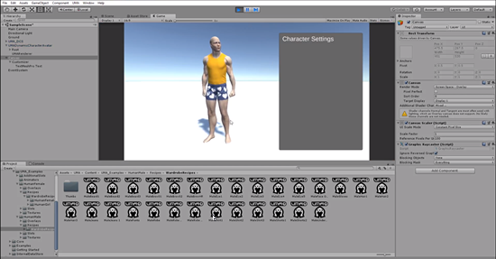 Scene preview of character creator with initial UI