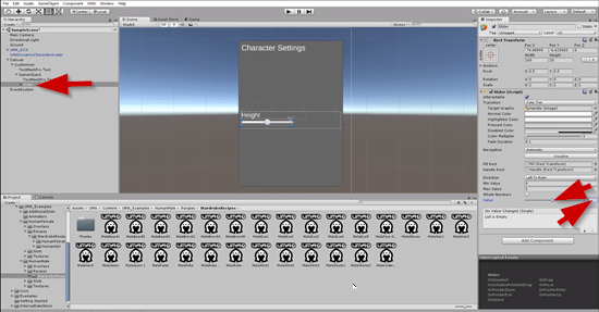 Slider UI object set to 0.5