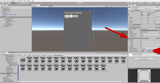 Unity Inspector with Vertical Layout Group added