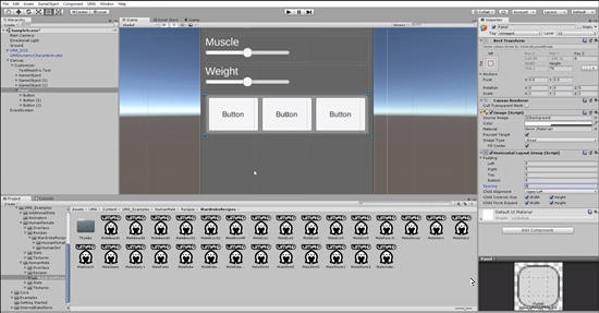 Unity UI with three buttons for hair options