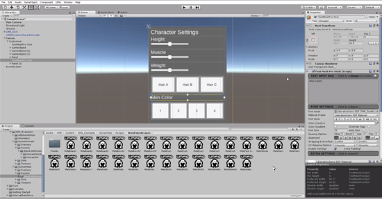 Unity UI with four buttons for skin color in character creator UI