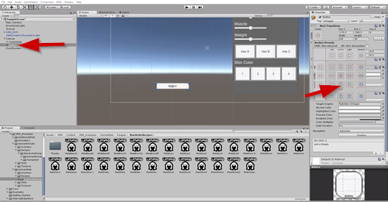 Button added and anchored to bottom in Unity