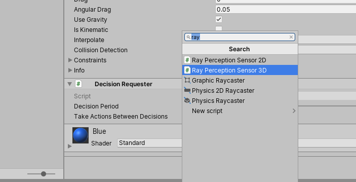 Searching for the Ray Perception Sensor 3D component