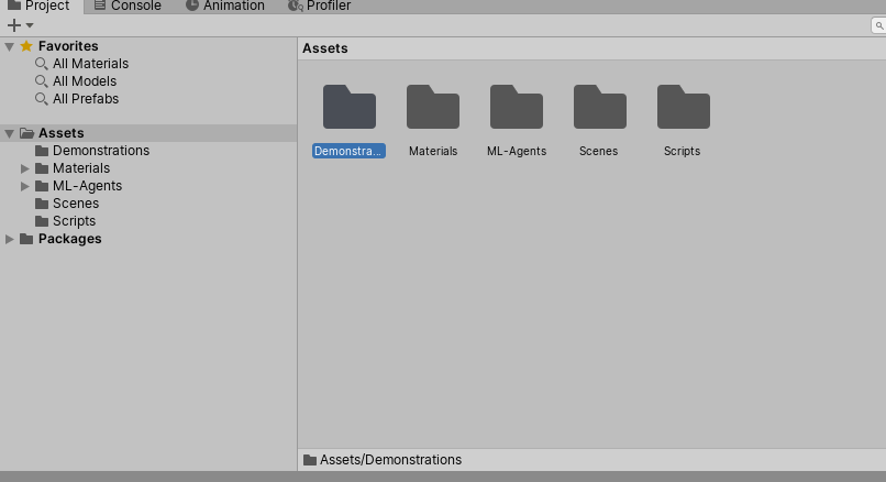 """The new """"Demonstrations"""" folder in the project files"""