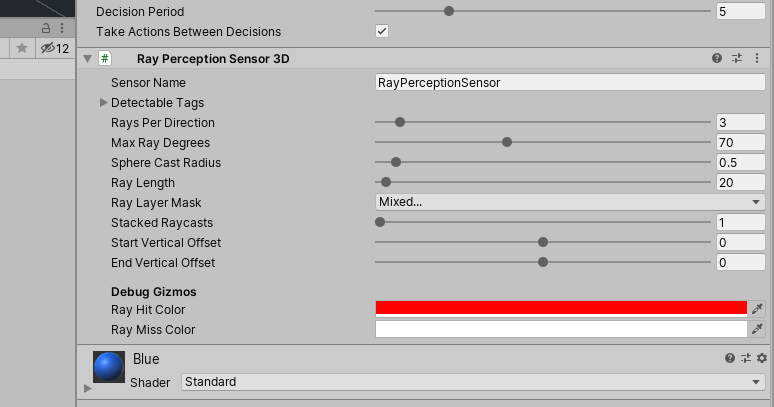 Adding the Ray Perception Sensor 3D Component to the Agent