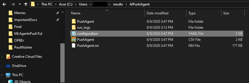 """Locating the Config file in the """"results"""" folder"""