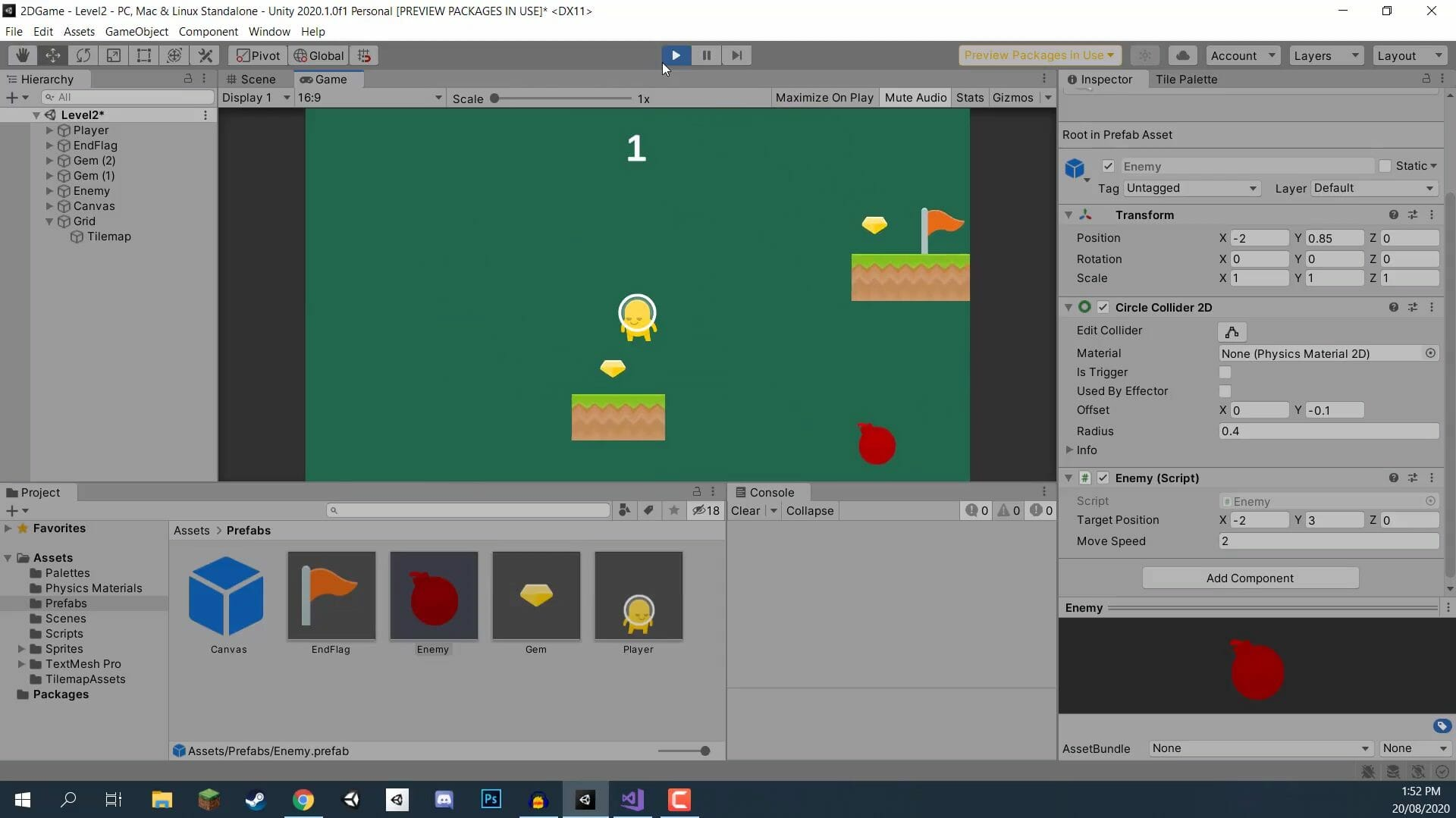Creating a 2D game in the Unity engine.