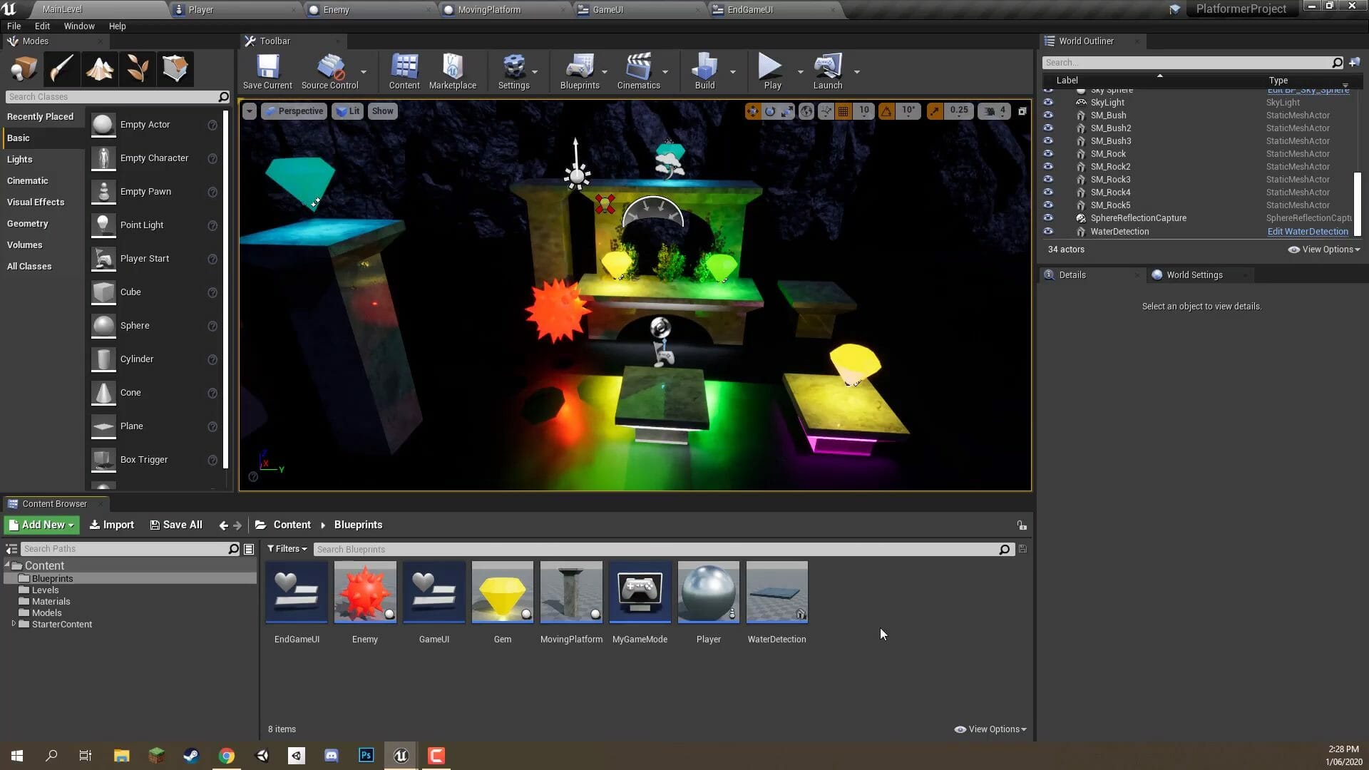 Creating a 3D game in the Unreal Engine.