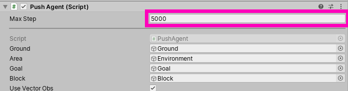 Max Step Value set to 5000 on the PushAgent script