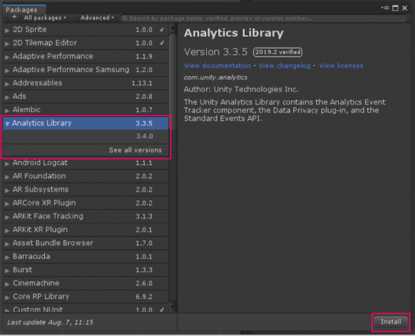 Unity Analytics Library package manager