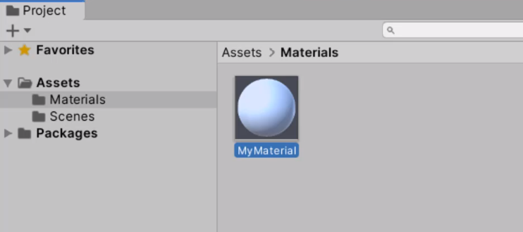 New material created in Unity Assets