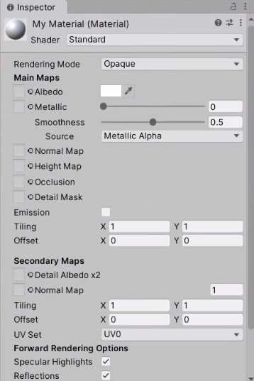 New material as seen in Unity Inspector