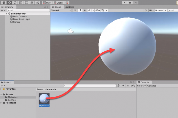 Material being dragged onto Sphere in Unity