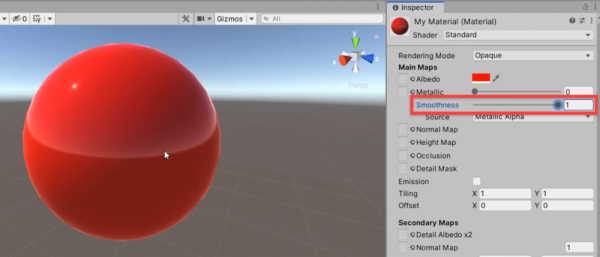 Unity material with smoothness set to 1