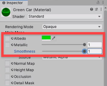 Unity Inspector properties for shiny, smooth, green material