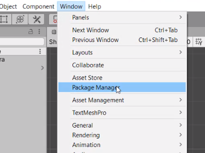 Unity Window Menu with Package Manager selected