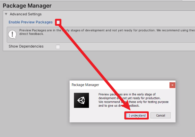 Package Manager agreement popup for enabling preview packages