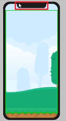 Simulated device in Unity with phone notch circled