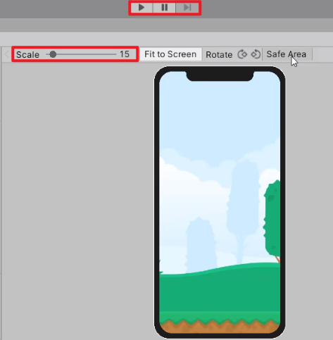 Scale option in Unity Device Simulator view